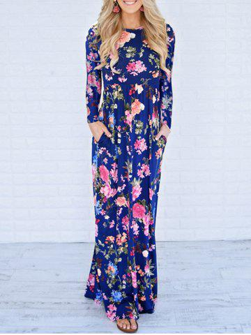Unique Floor Length Floral Long Sleeve Dress BLUE L