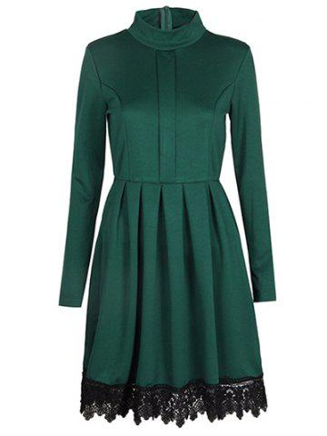 Hot Mock Neck Lace Insert A Line Dress GREEN M