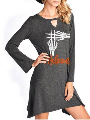 Store Halloween Skeleton Hands Print Keyhole Dress - L GRAY Mobile