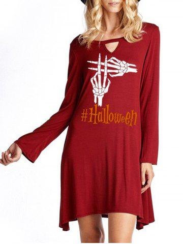 Discount Halloween Skeleton Hands Print Keyhole Dress WINE RED M