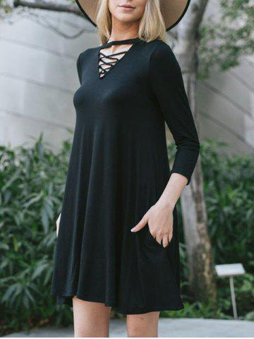 Outfit Criss Cross Keyhole Tunic Dress BLACK XL
