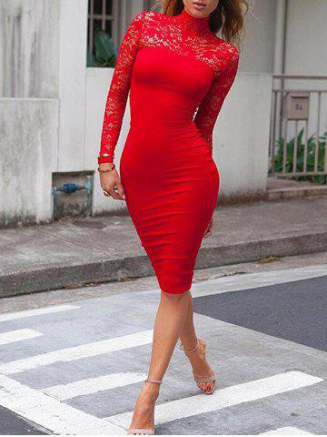 Latest High Neck Floral Lace Bodycon Dress RED S