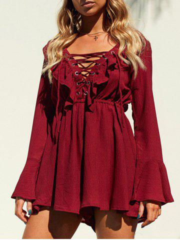 Affordable Lace Up Bell Sleeve Ruffle Romper WINE RED L