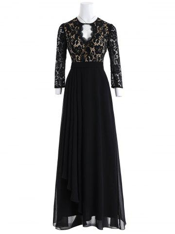 Latest Keyhole Floral Lace Maxi Formal Evening Dress