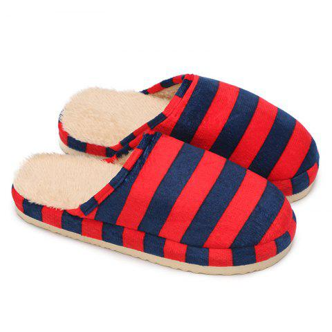 Affordable Faux Fur Padded Stripe House Slipper