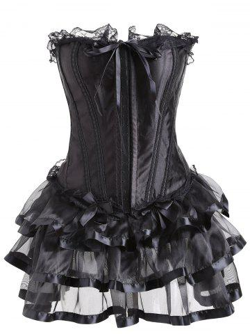 Online Flounce Lace Trim Two Piece Corset Dress BLACK S