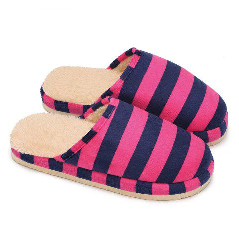 Sale Faux Fur Padded Stripe House Slipper - SIZE(36-37) ROSE RED Mobile