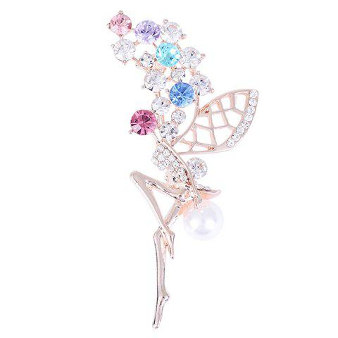 New Rhinestone Faux Pearl Fairy Wings Brooch COLORFUL