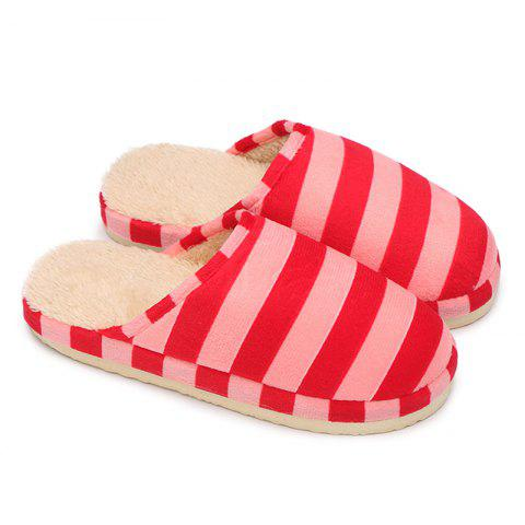 Outfits Faux Fur Padded Stripe House Slipper - SIZE(38-39) PINK Mobile