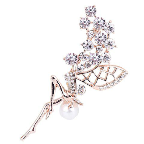 Buy Rhinestone Faux Pearl Fairy Wings Brooch WHITE