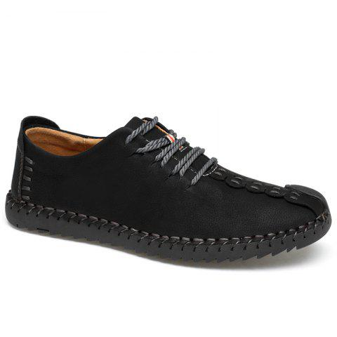 Chic Lace Up Whipstitch Casual Shoes - 39 BLACK Mobile