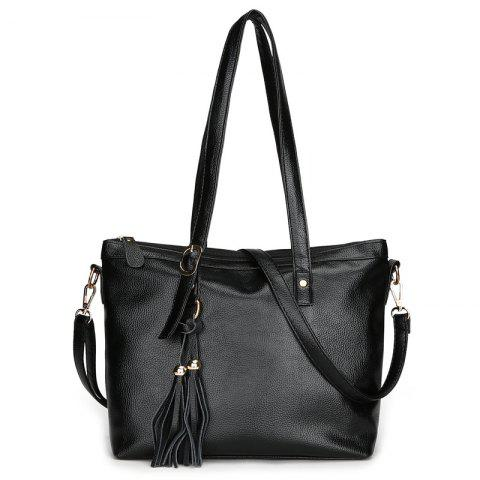 Buy Rivets Tassel Faux Leather Shoulder Bag