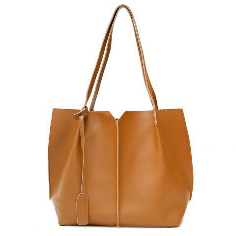 Trendy Faux Leather 2 Pieces Shoulder Bag Set - BROWN  Mobile