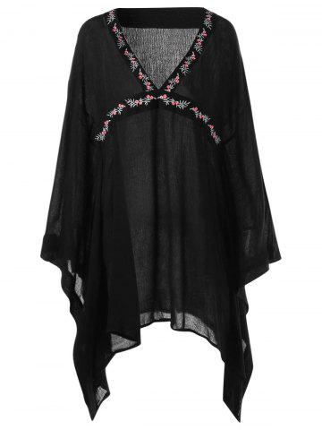 Cheap Embroidery Butterfly Sleeve V Neck Blouse BLACK L