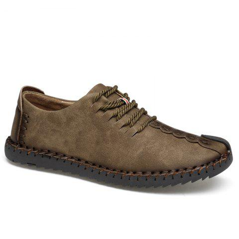 Trendy Lace Up Whipstitch Casual Shoes - 45 KHAKI Mobile