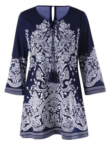 Outfit Bandana Floral Tie Front Tunic Blouse