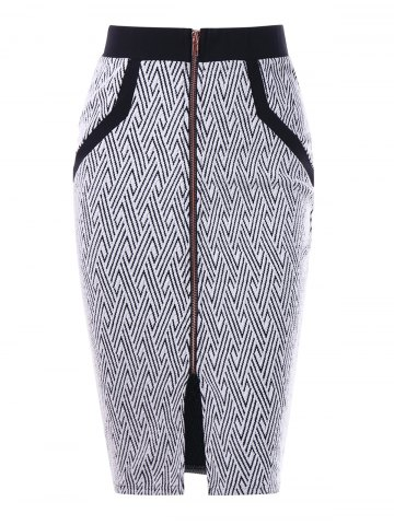 Trendy Monochrome Zip Up Pencil Skirt WHITE AND BLACK 2XL