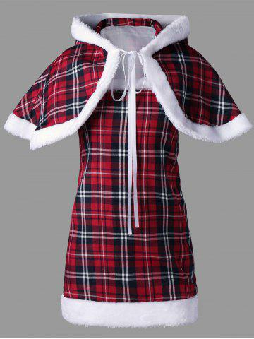Fancy Plaid Hooded Capelet with Tube Top - M RED Mobile