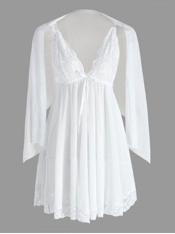 Latest Mesh Sheer Slip Babydoll - L WHITE Mobile