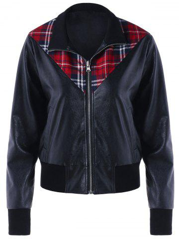 Store Plaid Panel Zip Up PU Leather Jacket