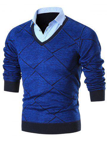 Buy Fake Two Piece Knitted Shirt Collar Sweater BLUE 2XL