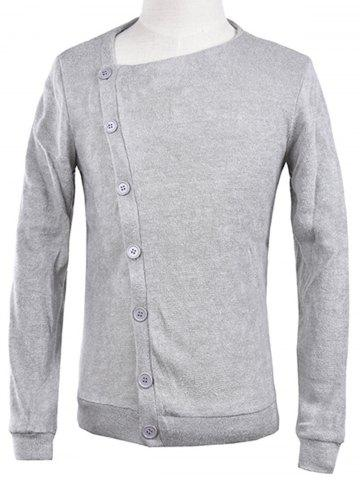 Hot Oblique Button Up Knitted Cardigan LIGHT GRAY S