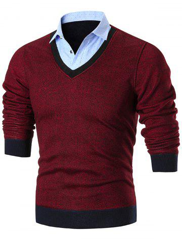 Shop Fake Two Piece Knitted Shirt Collar Sweater - 3XL RED Mobile