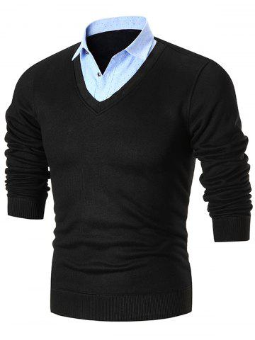 Fancy Fake Two Piece Knitted Shirt Collar Sweater - 3XL BLACK Mobile