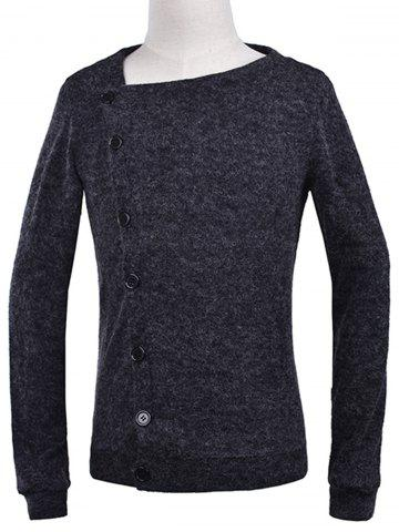 Store Oblique Button Up Knitted Cardigan DEEP GRAY 2XL