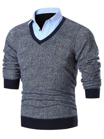Shop Fake Two Piece Knitted Shirt Collar Sweater GRAY 3XL