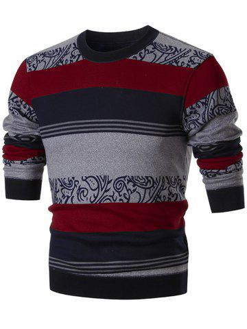 Online Printed Color Block Wide Stripe Crew Neck Sweater - L RED Mobile