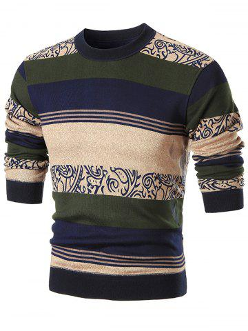 Cheap Printed Color Block Wide Stripe Crew Neck Sweater - 3XL COFFEE Mobile