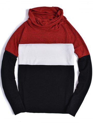 Online Piles Collar Color Block Panel Sweater - S RED Mobile