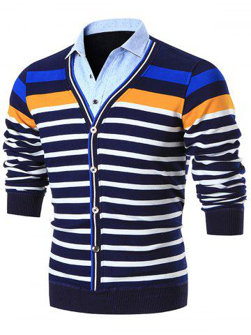 Buy Shirt Collar Colorblocked Striped Cardigan - L BLUE Mobile