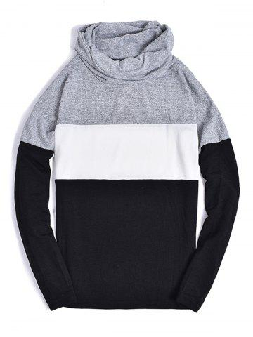 Latest Piles Collar Color Block Panel Sweater LIGHT GRAY S