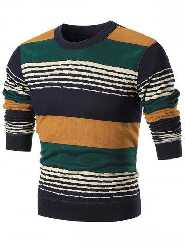 Fashion Colorblocked Wide Stripe Pullover Sweater YELLOW 3XL