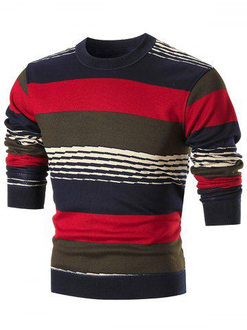 Affordable Colorblocked Wide Stripe Pullover Sweater - 2XL RED Mobile