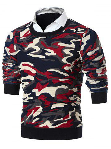 Fashion Shirt Collar Camo Print Knitted Sweater - RED 3XL Mobile