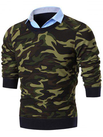 Buy Shirt Collar Camo Print Knitted Sweater - 3XL GREEN Mobile