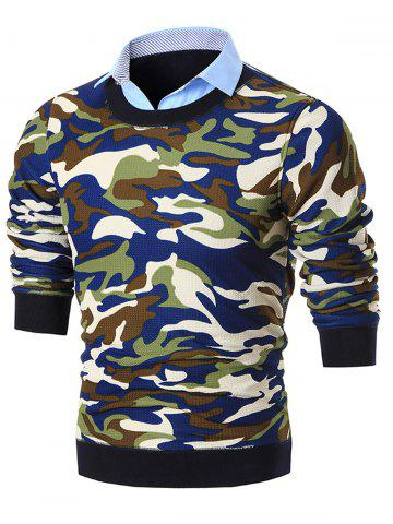 New Shirt Collar Camo Print Knitted Sweater - BLUE 2XL Mobile
