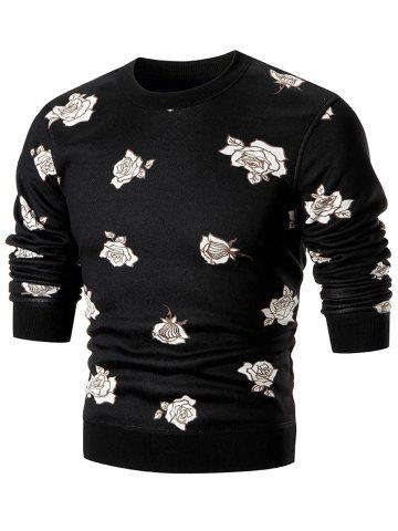 Cheap Rose Print Crew Neck Knitted Pullover Sweater - XL BLACK Mobile