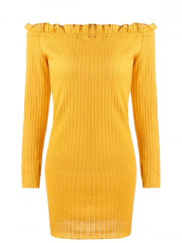 Trendy Ribbed Off The Shoulder Knit Dress