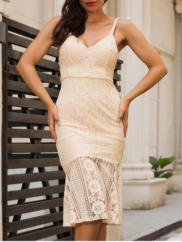 Hot Backless Knee Length Cami Lace Bodycon Dress - S PALOMINO Mobile