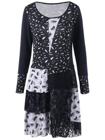 Fashion Plus Size Monochrome Lace Panel Tee Dress