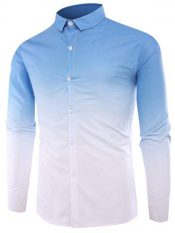 Outfits Ombre Long Sleeve Shirt - XL LIGHT BLUE Mobile