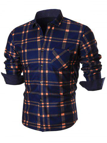 New Color Block Checked Plaid Long Sleeve Shirt - XL ORANGE Mobile