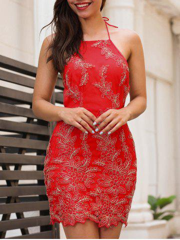 Fashion Embroidery Halter Neck Open Back Dress RED L