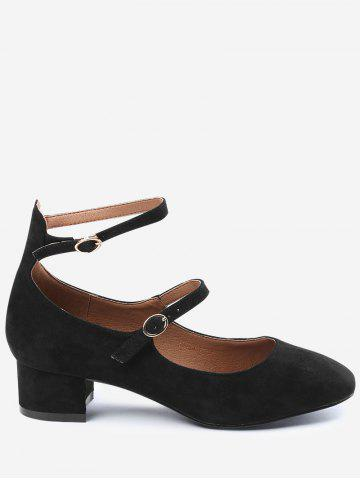 Shops Chunky Heel Ankle Strap Pumps - 38 BLACK Mobile
