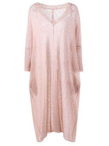 Affordable Plus Size See Thru Longline V Neck Sweater - 5XL LIGHT PINK Mobile