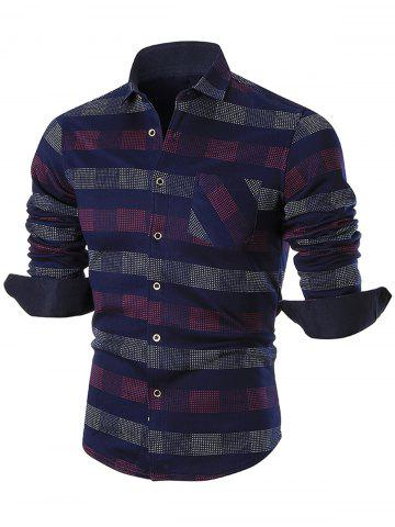 Sale Turn-down Collar Color Block Checkered Shirt RED 2XL